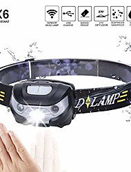 cheap -waterproof led headlamp, 4000mah super bright headlight flashlight 4 modes helmet light for running walking camping reading hiking riding fishing rechargeable batteries included (style1)