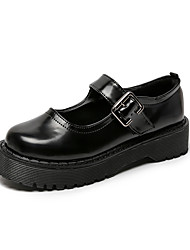 cheap -Women's Flats Platform Round Toe Casual Daily Walking Shoes PU Black
