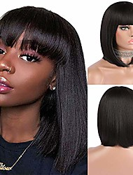 "cheap -short bob hair wigs with bangs 12"" black straight wig natural looking heat resistant synthetic cosplay daily party wig for girls and women"