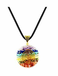 cheap -natural crystal stone pendant - 7 chakra stones pendent necklace with adjustable cord - chakras healing tools for emf protection and spiritual healing patient's gift (standard edition-3#)