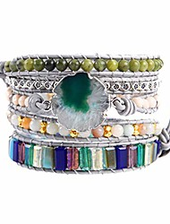 cheap -women handmade natural stone agate beaded mixed wrap bracelet collection