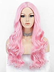 cheap -baby pink wig long wavy pink wig with middle parting light pink synthetic wigs for cosplay party glueless 22 inches