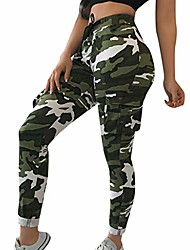 cheap -women casual camo pants with pocket elastic waist drawstring camouflage print trousers sport jogger sweatpants