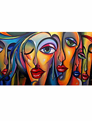 cheap -Oil Painting Hand Painted - People Pop Art Modern Rolled Canvas (No Frame)