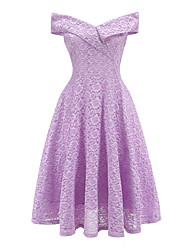 cheap -Women's A-Line Dress Knee Length Dress - Sleeveless Solid Color Lace Summer Off Shoulder Vintage Party Slim 2020 White Black Purple Blushing Pink Wine Navy Blue S M L XL XXL