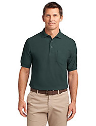 cheap -silk touch polo shirt with pocket - polycotton fabric - 3xl dark green