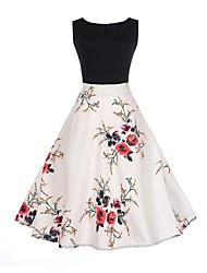 cheap -Women's A-Line Dress Knee Length Dress - Sleeveless Floral Print Summer Vintage Slim 2020 White S M L XL XXL