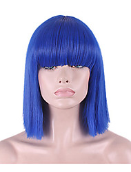 cheap -Synthetic Wig Hathaway Middle Part Wig Blue Short Straight  Synthetic Hair 12 inch Women Synthetic Sexy Lady Hairstyle