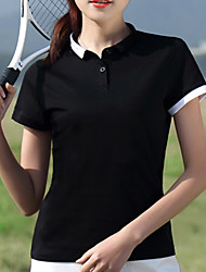 cheap -Women's Golf Polo Shirts Short Sleeve Breathable Quick Dry Sweat-Wicking Sports Outdoor Autumn / Fall Spring Summer Cotton Solid Color White Black / Stretchy