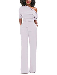 cheap -Women's Casual Wine ArmyGreen White Jumpsuit Solid Color