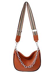 cheap -Women's Bags PU Leather Leather Top Handle Bag Zipper Chain Handbags Daily Outdoor Black Orange Green Brown