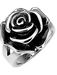 cheap -full bloom single rose cast band ring stainless steel band ring r657 (10)