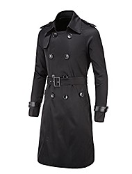 cheap -men's trench coat long double button down jacket military trench coat slim coat with belt black us l (asian 3xl)