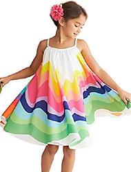 cheap -rainbow dress for girls summer stripe spaghetti beach boho sundress vacation casual straps tutu dresses size 12-18 months/tag90 (white)