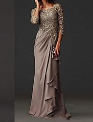 cheap -Sheath / Column Mother of the Bride Dress Elegant Bateau Neck Floor Length Chiffon Lace 3/4 Length Sleeve with Lace 2021