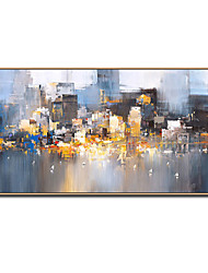 cheap -Large Size Hand Painted Abstract City Landscape Oil Paintings On Canvas Modern Art Wall Picture For Home Decoration No Framed