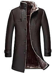 cheap -mens classic winter warm sheep skin leather coat parka lamb wool lined jacket (us 3x-large, us/1807 brown)