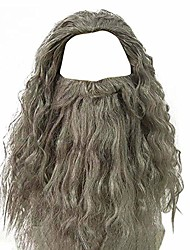 cheap -men's grey wizard wig and beard set curly messy long hair old man wizard costume wig halloween fancy dress accessories for adult (grey wig+beard)