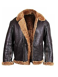 cheap -men shearling b3 aviator sheepskin brown raf ginger leather jacket (small)
