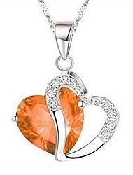 cheap -women necklace daoroka stylish artificial gem love heart shape pendant chain necklace jewelry gift for mother girlfriends