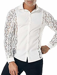 cheap -allywit men's sexy lace see through mesh long sleeve slim fit dress shirt white