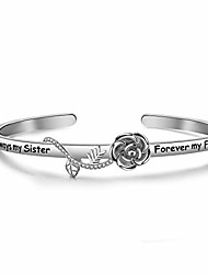 cheap -best friend bracelet sister gift always my sister forever my friend cuff bracelet with rose flower gift for sisters friendship jewelry (silver)