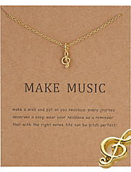 cheap -Women's Pendant Necklace Necklace Classic Music Notes Simple Fashion Classic Trendy Alloy Silver Gold 50 cm Necklace Jewelry 1pc For Party Evening Street Gift Birthday Party Festival