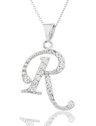 cheap -925 sterling silver 'letters of the alphabet' pendant with cz stones and an (i-1572)(r)