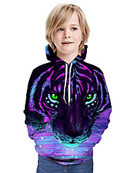 cheap -Kids Boys' Active Tiger 3D Graphic Animal Print Long Sleeve Hoodie & Sweatshirt Purple
