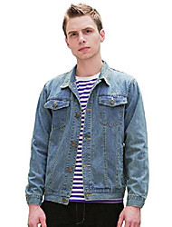 cheap -men's classic jean jacket with double flap chest pockets blue 36