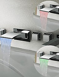 cheap -Waterfall Bathtub Faucet - Contemporary / Modern Style / LED Chrome Wall Mounted Brass Valve Bath Shower Mixer Taps / Three Handles Five Holes