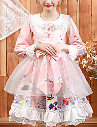 cheap -Kids Little Girls' Dress Dusty Rose Color Block Floral Pleated Patchwork Print Blushing Pink Midi Long Sleeve Cute Boho Dresses Children's Day Loose