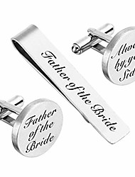 cheap -cufflinks wedding engraved father of the bride gifts always by your side tie clip tack bar (father of the bride)
