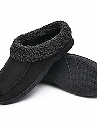 cheap -warm house slippers for men memory foam, winter cozy wool-like mens slippers indoor outdoor, slip-on comfy men's bedroom slippers non-slip, man breathable suede moccasin slippers size black