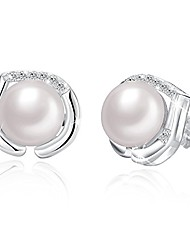 cheap -chic women sterling silver white freshwater cultured pearl love heart stud earrings