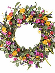 "cheap -artificial daisy flower wreath - 20"" floral front door wreath with vibrant silk flowers and eucalyptus leaves for home decoration"