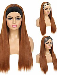 cheap -fashion headband wigs 350# copper brown long straight wigs for women girls synthetic heat resistant wigs with velvet headband attached for daily party cosplay costume