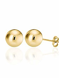 cheap -14k gold plated polished sterling silver round 14mm ball bead stud earrings