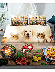 cheap -Cartoon Animal 3D Bedding Cat and Dog Duvet Cover Set Cute Puppy  for Boys Girls Bedding Sets Polyester 2/3 Piece