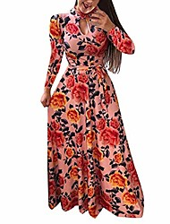 cheap -women dress, women casual dresses womens fashion casual floral printed maxi dress ladies short sleeve party long dress