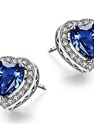 cheap -sterling silver heart blue sapphire stud earrings for women