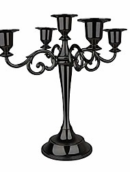 cheap -5-candle metal candelabra,10.24 inch tall candle holder, classic elegant black mirrored finish design candlestick stand, wedding event and party candle stick (black)