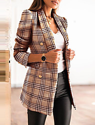 cheap -Women's Blazer Geometric Classic Style Classic & Timeless 35%Cotton 65%Polyester Office / Career Asian Size Coat Tops Black / Shawl Lapel