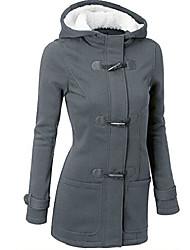 cheap -fashion women windbreaker outwear warm wool slim long sleeve coat jacket (l, dark grey)