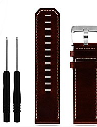 cheap -genuine leather replacement watch band for garmin fenix 3 / fenix 3 hr/fenix 5x clock strap watchband 26mm (brown)
