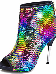 cheap -camssoo women's colorful stiletto ankle boots sequin peep toe rear zipper high heels short booties color sequin size us7.5 eu38