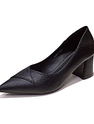 cheap -Women's Heels Chunky Heel Pointed Toe Casual Daily PU Solid Colored Almond Black / 2-3
