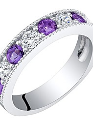 cheap -sterling silver amethyst milgrain half eternity ring band size 6