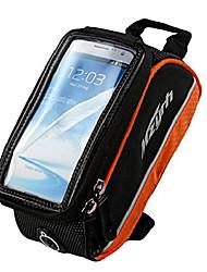 cheap -bicycle frame pannier bag fashionable mountain bike front tube bag front phone holder (orange, s)
