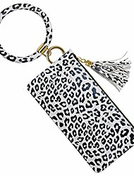 cheap -keychain bracelet,  wristlet keychain bangle bracelet with phone purse for women(white cheetah)